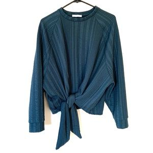 Zara Forest Green Knot Tie Front Crew Sweatshirt S